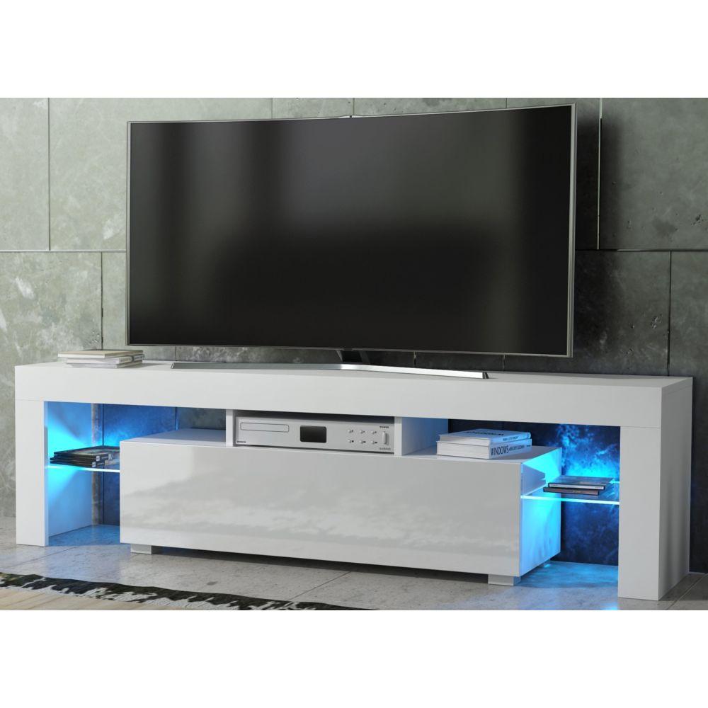 dusine meuble tv spider a led en blanc mat avec porte blanc laque 160 cm