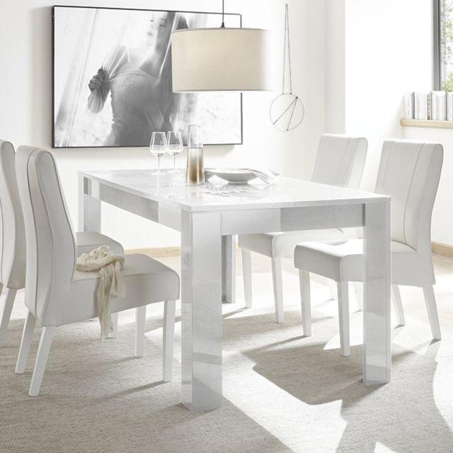 table a manger 180 cm blanche laque design nerina