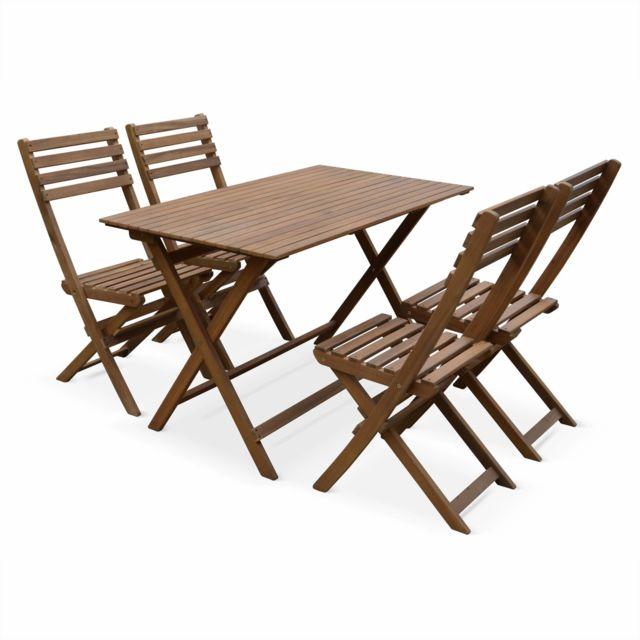 table de jardin en bois 120x70cm madrid table bistrot pliante rectangulaire