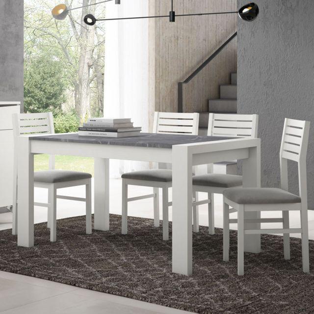 ensemble table chaises bois blanc marbre gris camelia