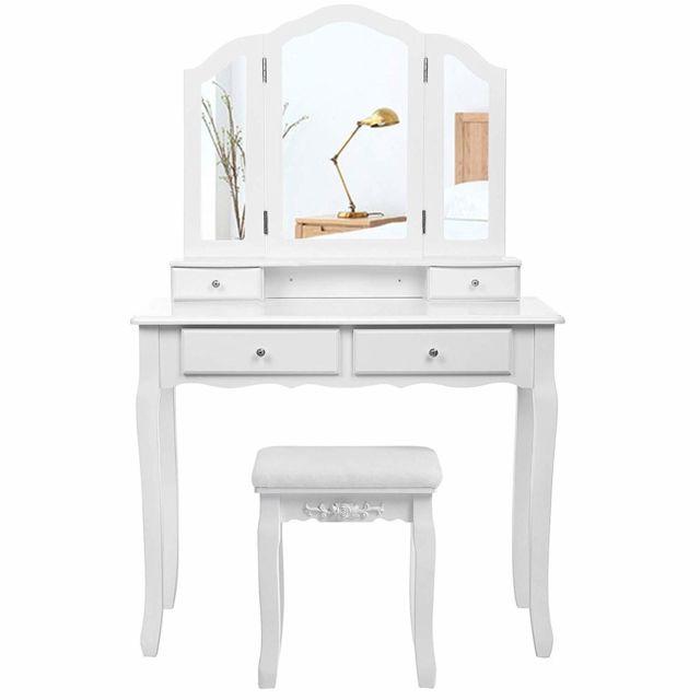 songmics grande coiffeuse table de maquillage avec miroir a 3 volets 4