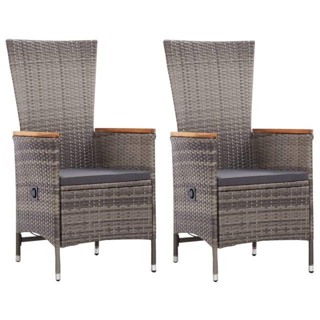 vidaxl chaises d exterieur 2 pcs avec coussins resine tressee gris