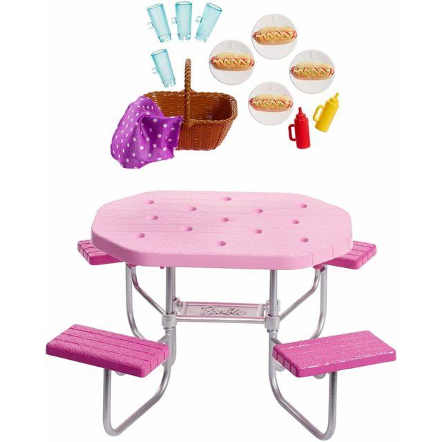 barbie mobilier coffret d exterieur pour poupee table de pique nique rose avec