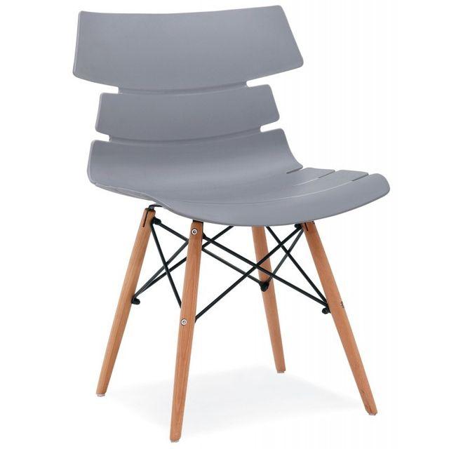 4 chaises de sejour coque design pieds bois coloris gris