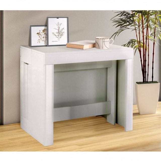 table console extensible 12 couverts longo 90 cm finition laque blanc brillant