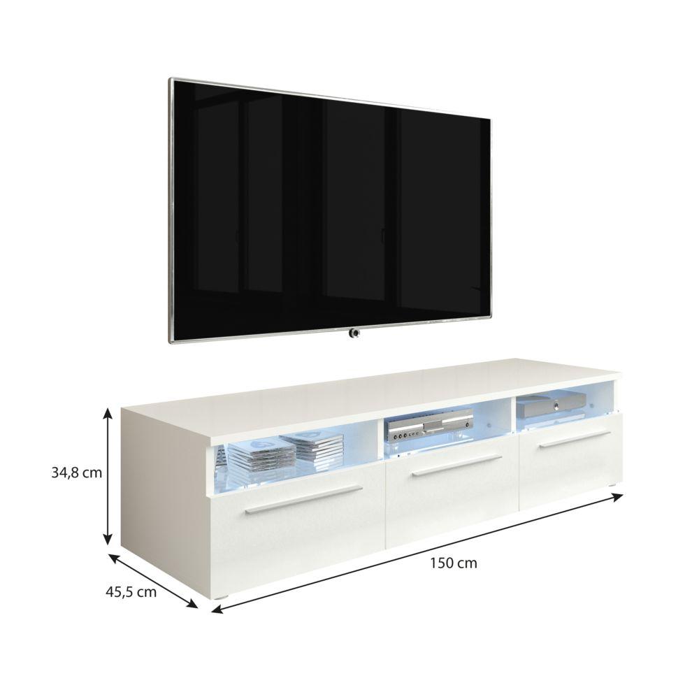 furnix meuble tv design banc tv cuzco 150cm blanc