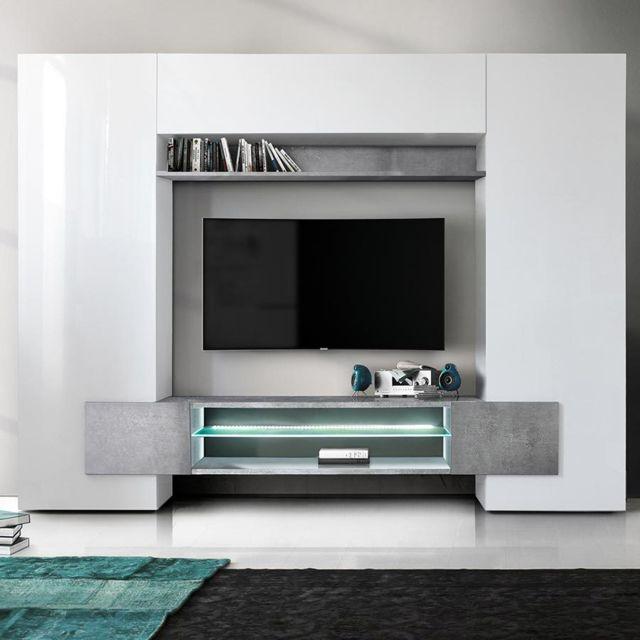 meuble tv mural blanc laque et effet beton eros avec eclairage