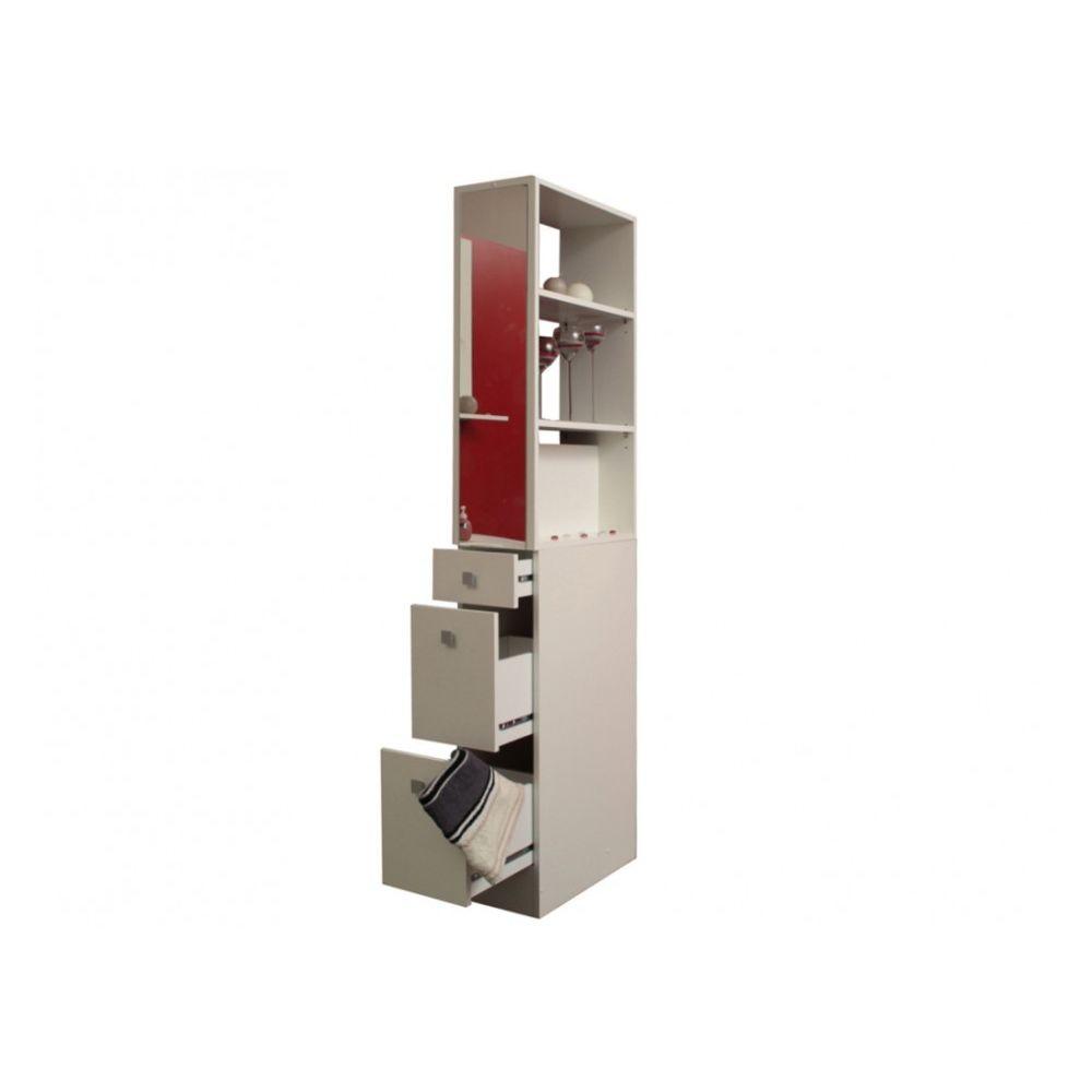marque generique colonne de separation jordane etageres tiroirs miroirs blanc