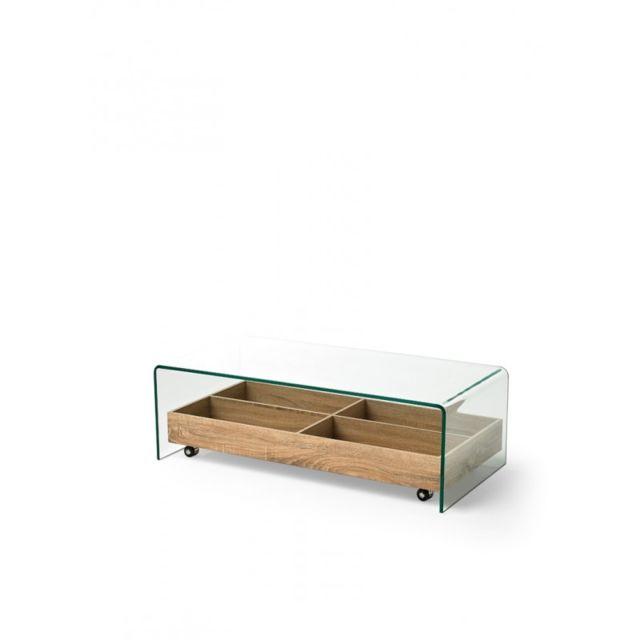 table basse en verre avec plateau caisse sur roulettes en bois edwige l 110 x