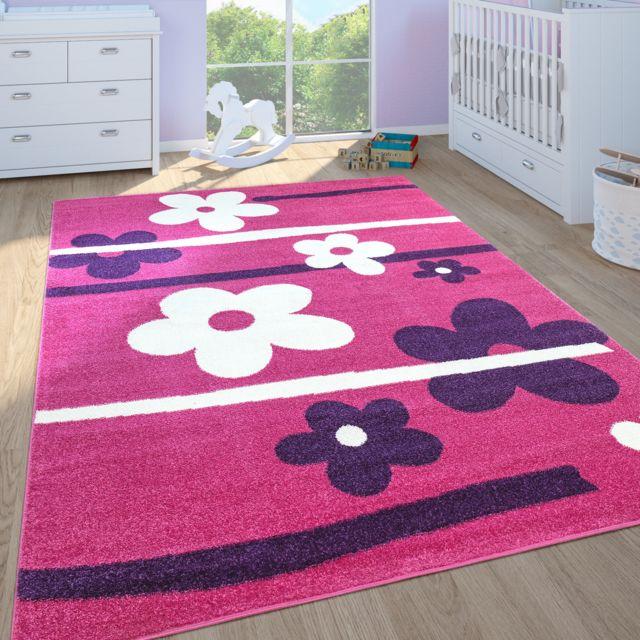 tapis enfant filles chambre enfant tapis de jeux poils ras fleurs rose