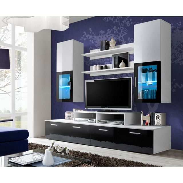 meuble tv mural design mini 200cm noir blanc