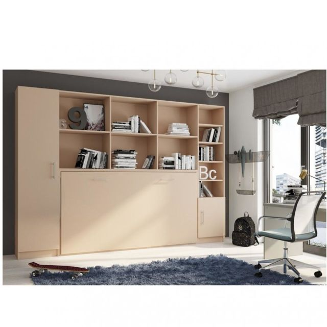 composition armoire lit horizontale strada v2 taupe mat couchage 90 200 avec
