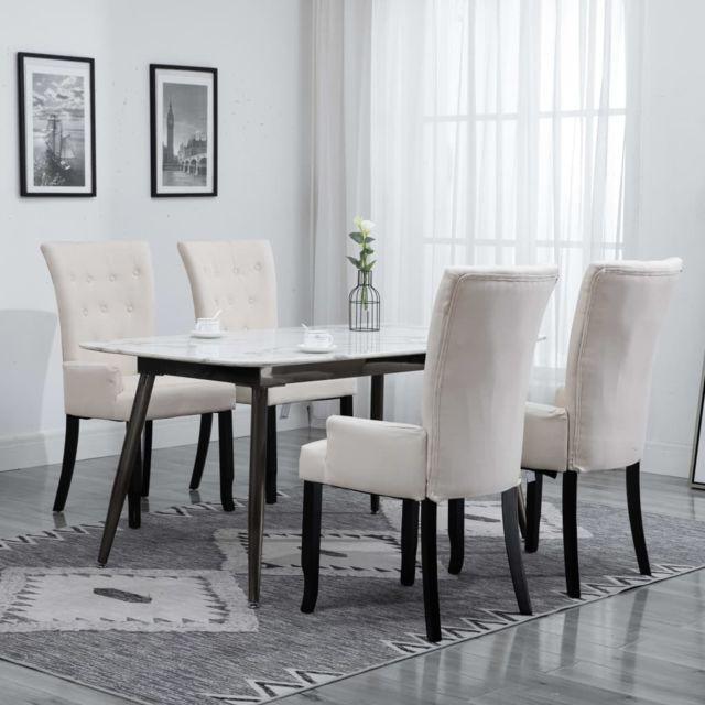 vidaxl chaise de salle a manger avec accoudoirs 4 pcs beige tissu