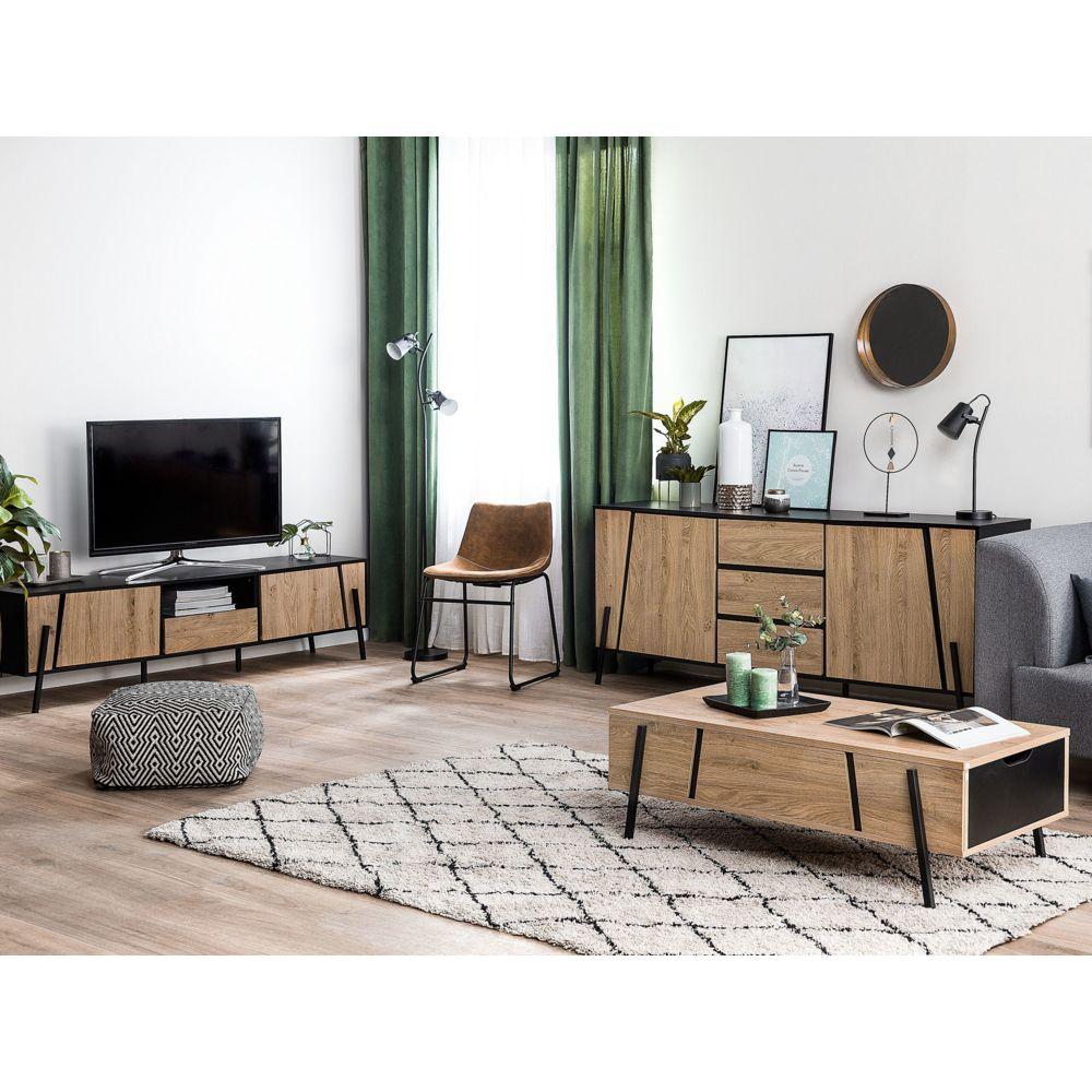 beliani beliani meuble tv en bois clair et noir blackpool marron