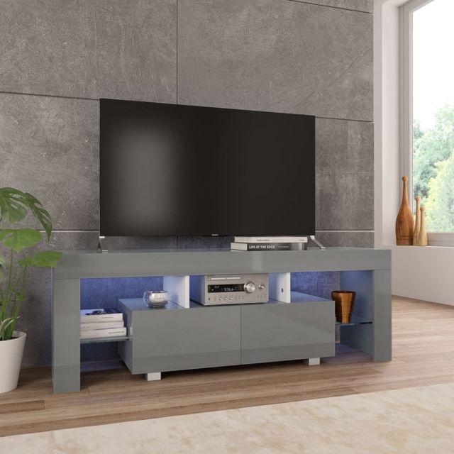uco meuble tv avec lumiere led gris brillant 130 x 35 x 45 cm