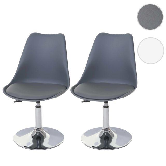2x chaise pivotante malmo t501 reglable en hauteur similicuir gris fonce