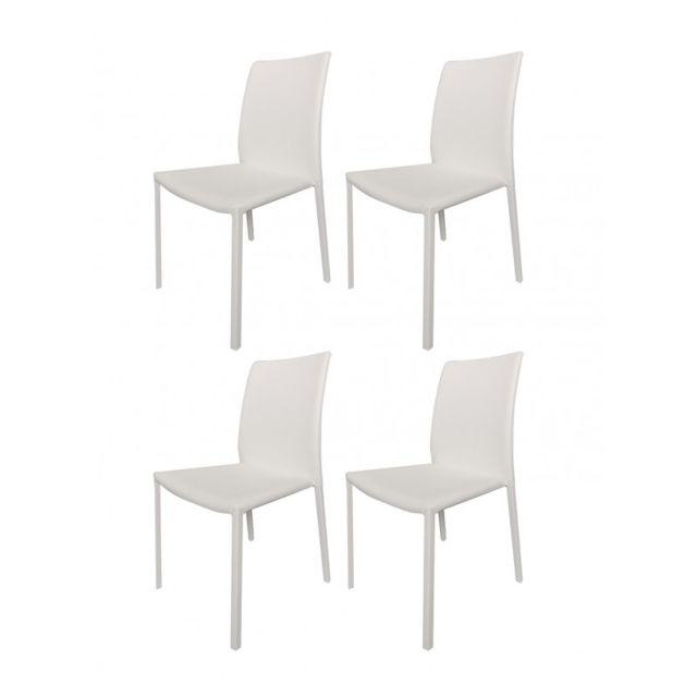 lot de 4 chaises blanches en pu lufy