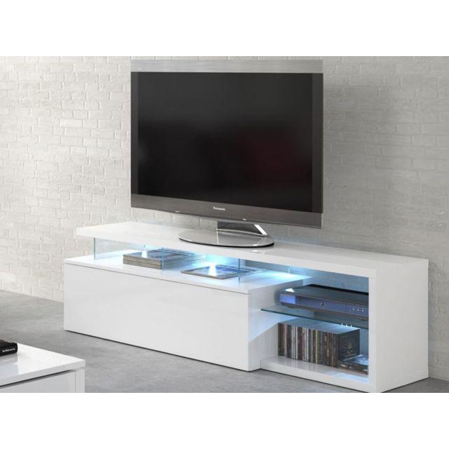 meuble tv led blue light 150 x 41 x 43 cm blanc