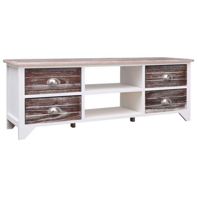 uco meuble tv blanc et marron 115x30x40 cm bois de paulownia