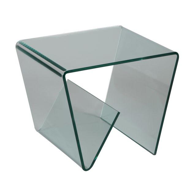 petite table basse porte revues en verre trempe design