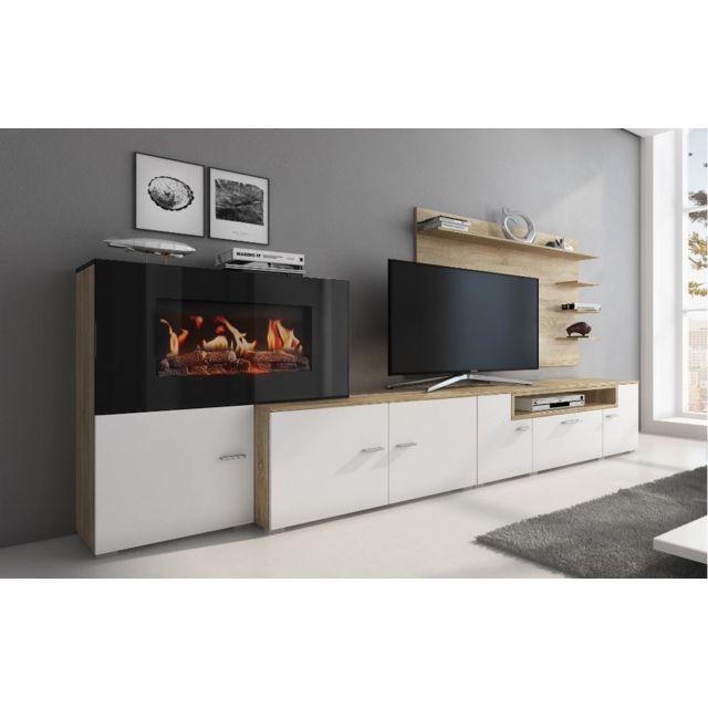 meuble cheminee electrique blanc chene clair