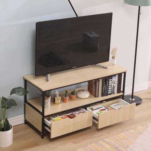 meuble tv detroit en metal et bois decor bois et noir design industriel