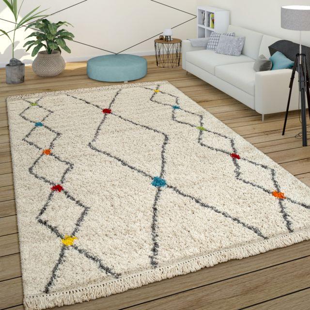 tapis a poils longs shaggy design berbere colore touches moderne ethnique