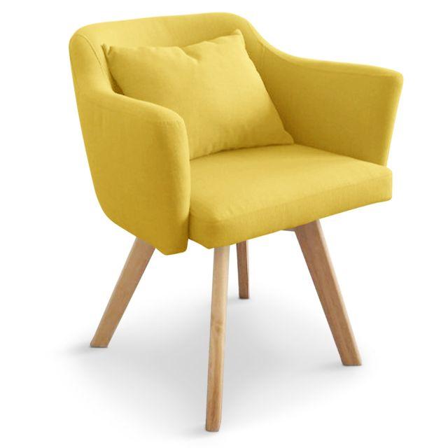chaise fauteuil scandinave dantes tissu jaune
