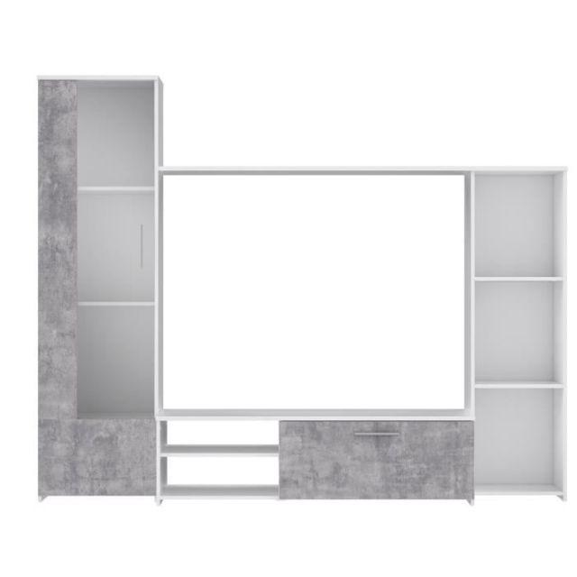 meuble tv meuble hi fi pilvi meuble tv blanc mat et beton gris clair l