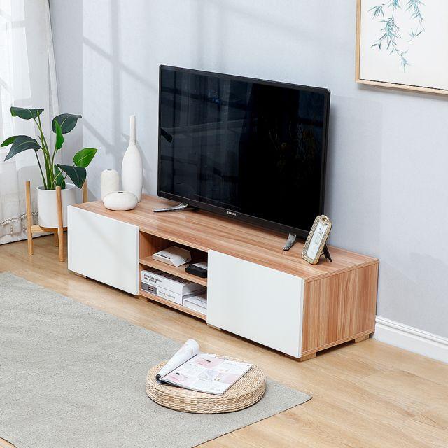 meuble tv lime 2 portes decor chene et blanc 140 cm