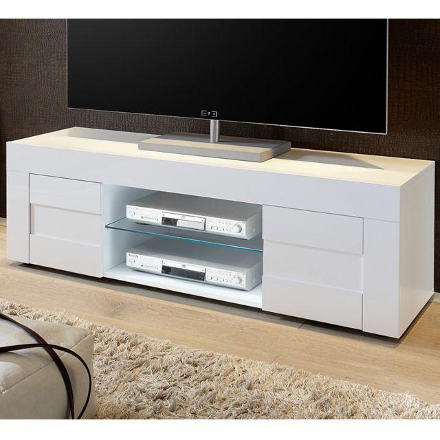 meuble tv blanc laque brillant design okland