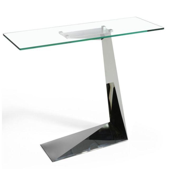 console design en verre tamara 140cm argent