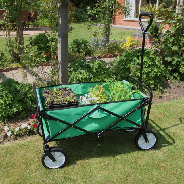 chariot pour jardin pliable caddie utilite brouette vert transport remorque