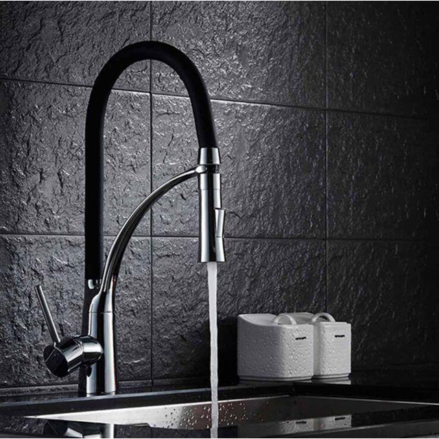 robinet cuisine noir rabattable 360 mitigeur pour evier chrome a bras rotat