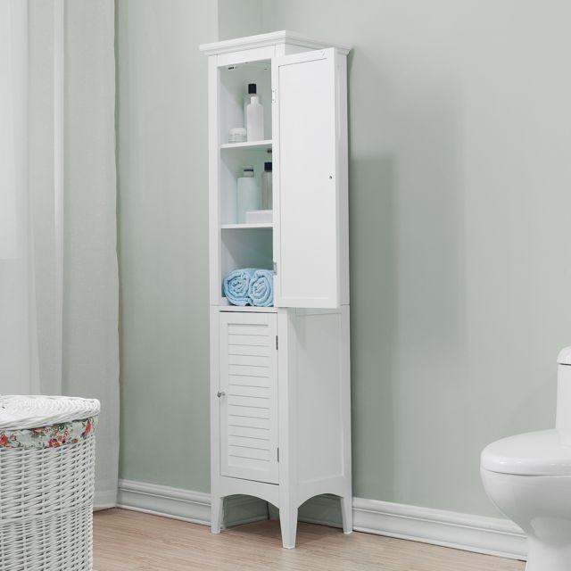 armoire de rangement colonne salle de bain blanc ethan teamson home elg 588