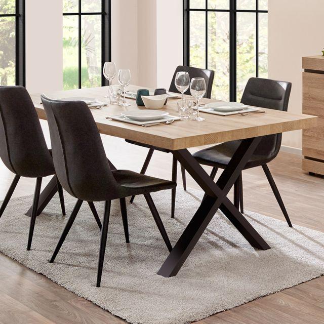 table 170 cm contemporaine couleur bois clair marlon