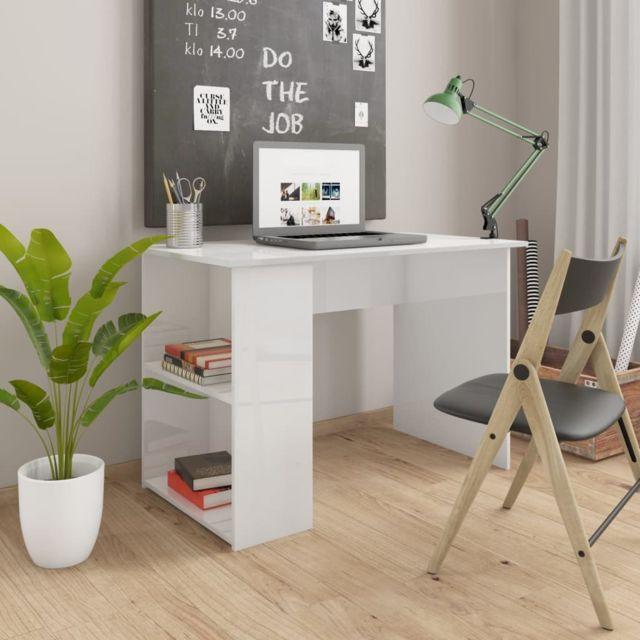 vidaxl bureau blanc brillant agglomere table ordinateur meuble informatique