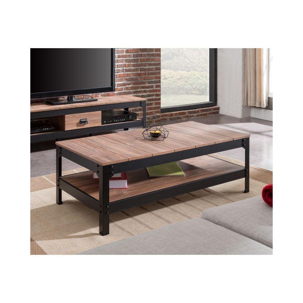 paris prix table basse industrielle logan 117cm naturel