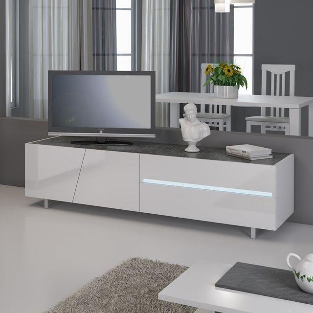 banc tv avec led design laque blanc laurea avec eclairage a led integre
