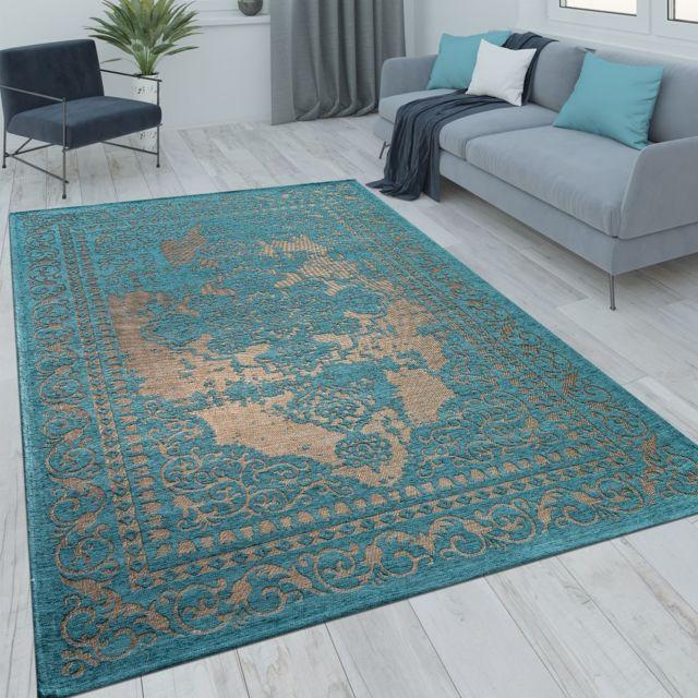 tapis poils ras orient salon moderne aspect vintage turquoise beige