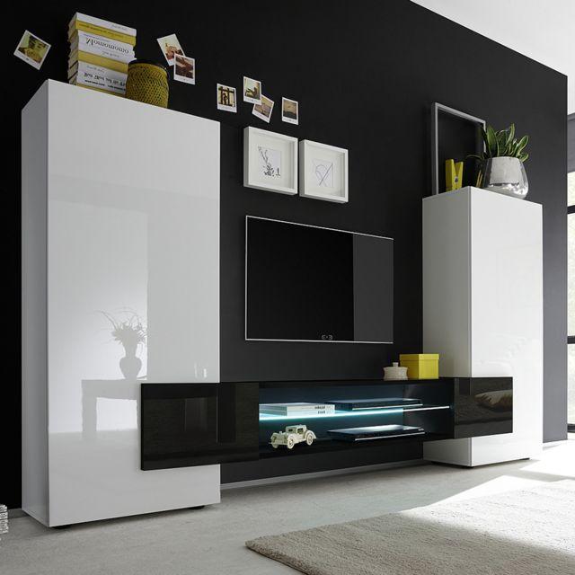 ensemble meubles tv blanc et noir laque brillant eros 3 avec eclairage
