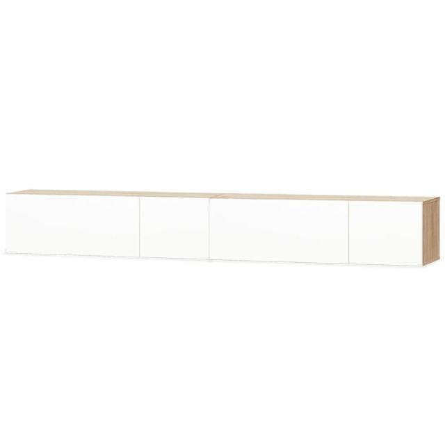 meuble tele buffet tv television design pratique 2 pcs agglomere 120 cm