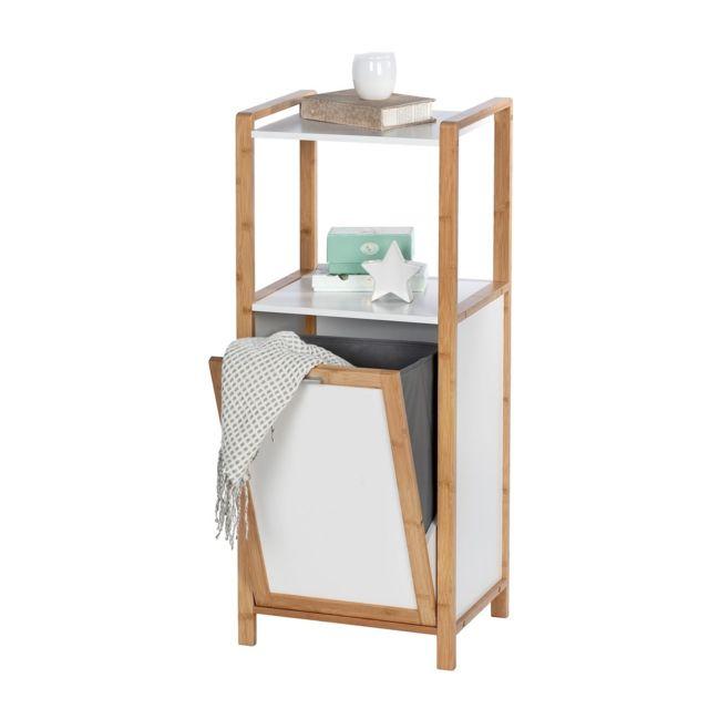 etagere de salle de bain en bambou avec panier a linge finja l 40 x h 95