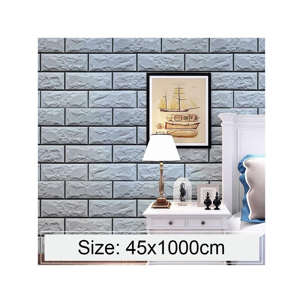 wewoo sticker mural argent gris brique creative 3d pierre decoration papier peint autocollants chambre salon mur impermeable rouleau taille 45 x