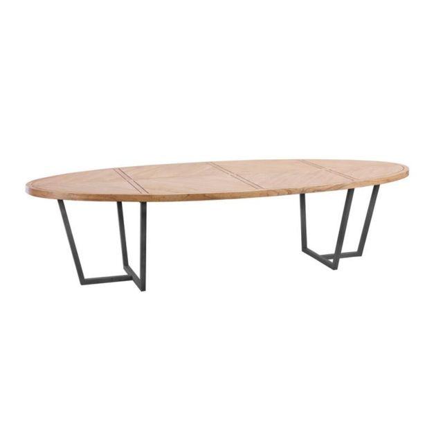 table de repas ovale 200 cm bois clair metal oujda