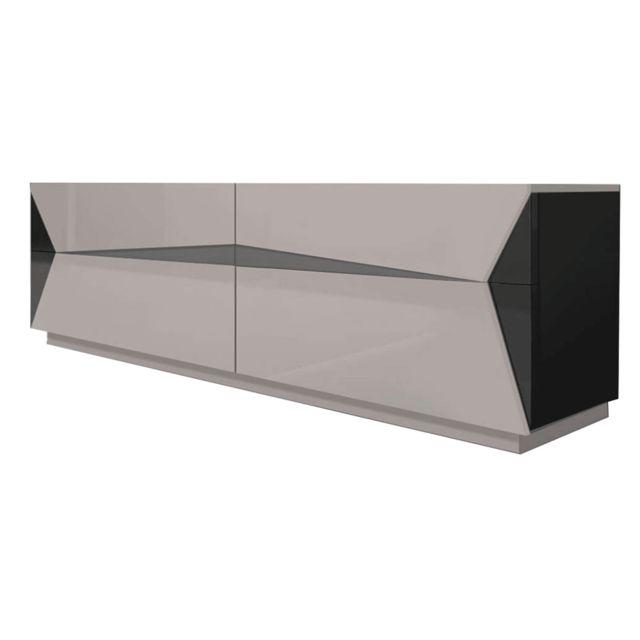 meuble tv laque esteban taupe et noir