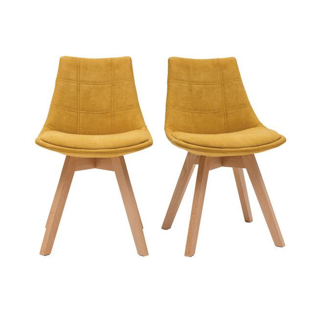 chaises scandinaves en tissu effet velours jaune moutarde lot de 2 matilde