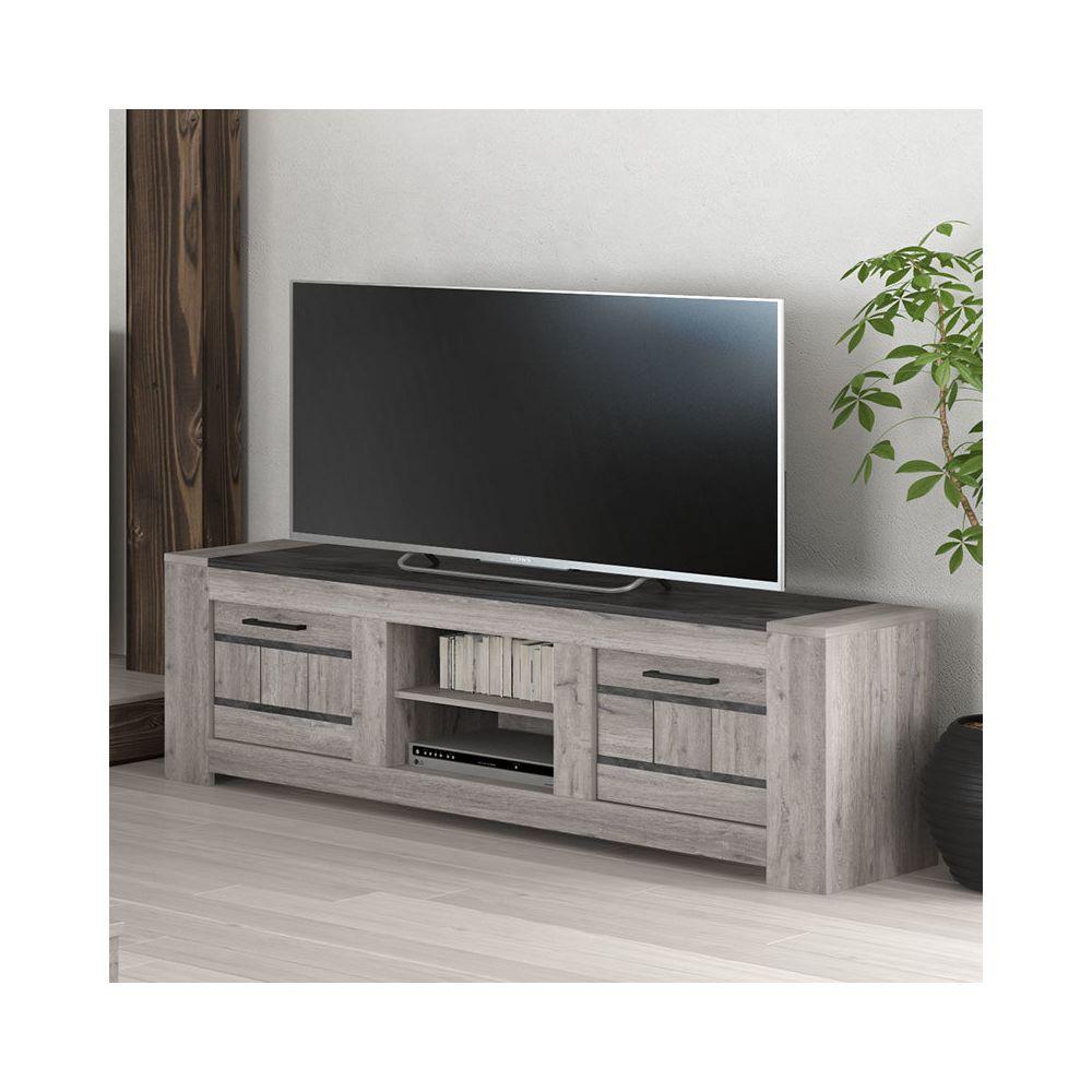 Nouvomeuble Meuble Tv 155 Cm Moderne Couleur Chene Gris Camelia Meubles Tv Hi Fi Rue Du Commerce