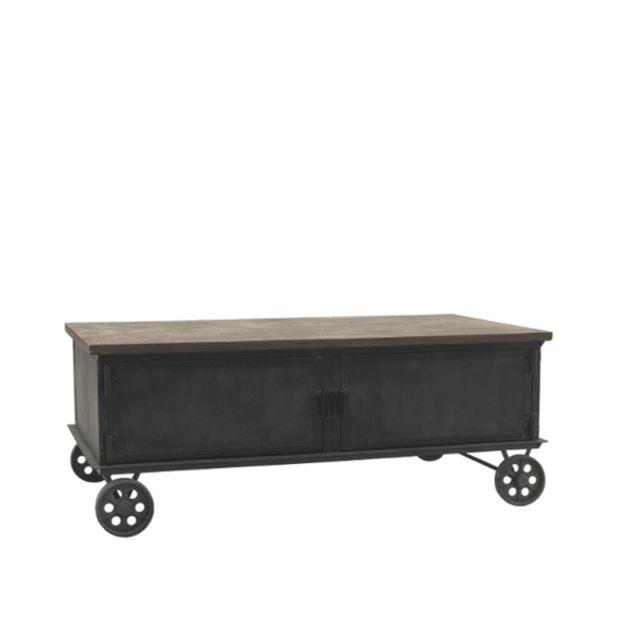 table basse en bois et metal sur roulettes fonte 100 cm x 60 cm