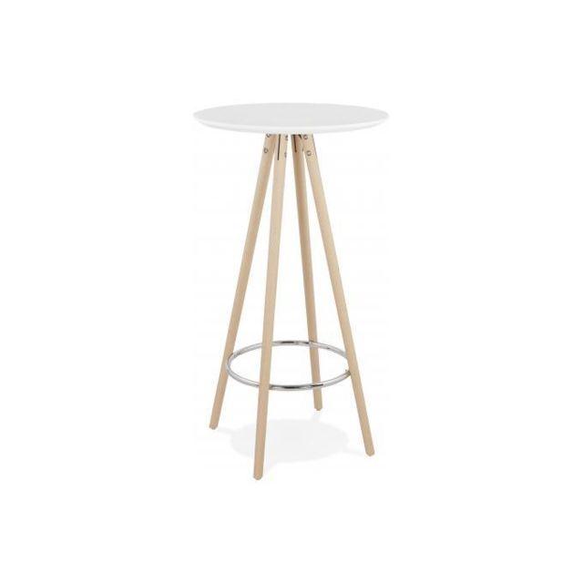 table de bar ronde en bois de hetre blanche et pietement beige malout
